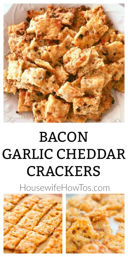 Bacon Garlic Cheddar Crackers Recipe - A savory and crispy snack full of flavor #crackers #baking #bacon #cheddar #cheese #snacks #appetizers #recipe #savory #crunchy