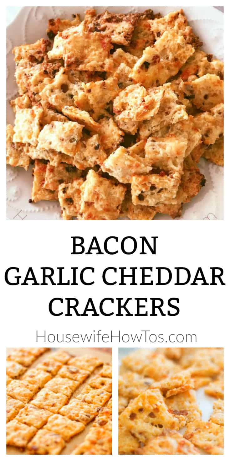 Savory Bacon Garlic Cheddar Crackers Recipe - A crispy snack full of flavor that will have your family and friends begging for the recipe! #snacks #appetizers #fingerfood #partyfood #crackers #cheddarcheese #cheese #bacon #savory #recipe