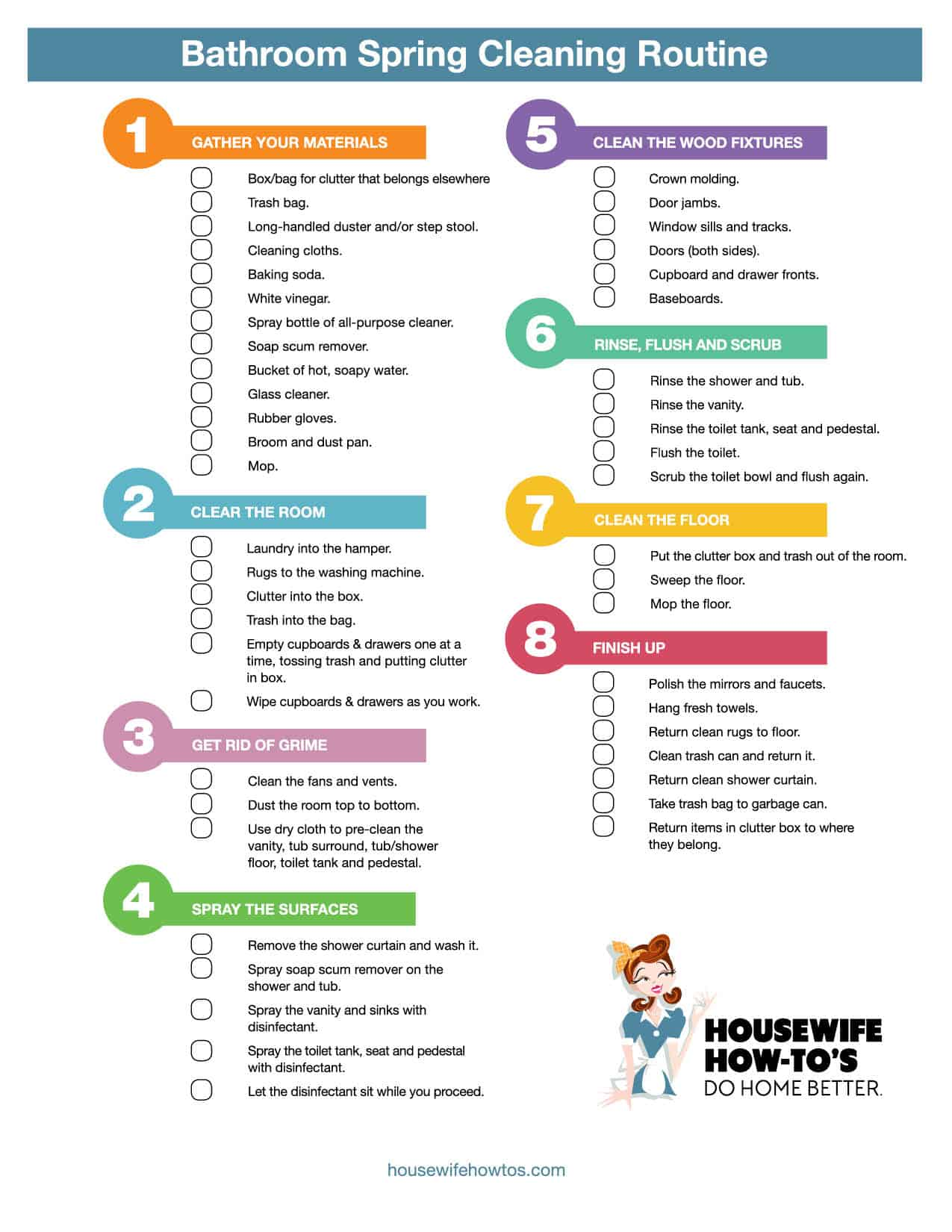 . Cleaning Checklists   Free Printable Home Cleaning Routines