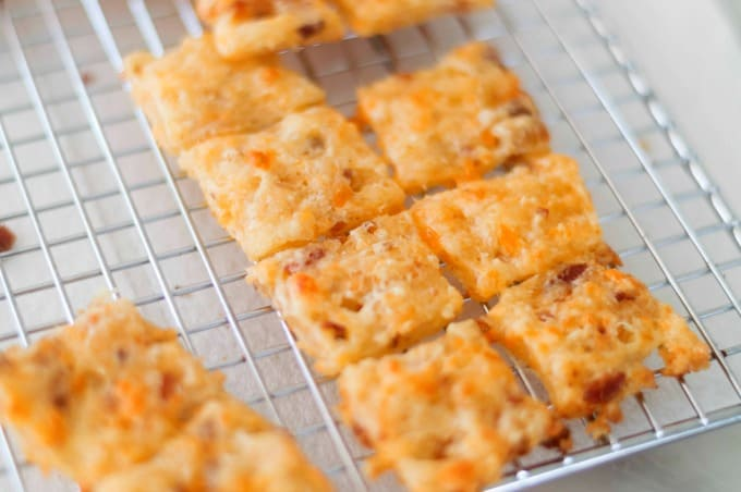 Homemade crackers cooling on a wire rack