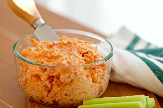 Homemade Pimento Cheese - A classic with celery sticks