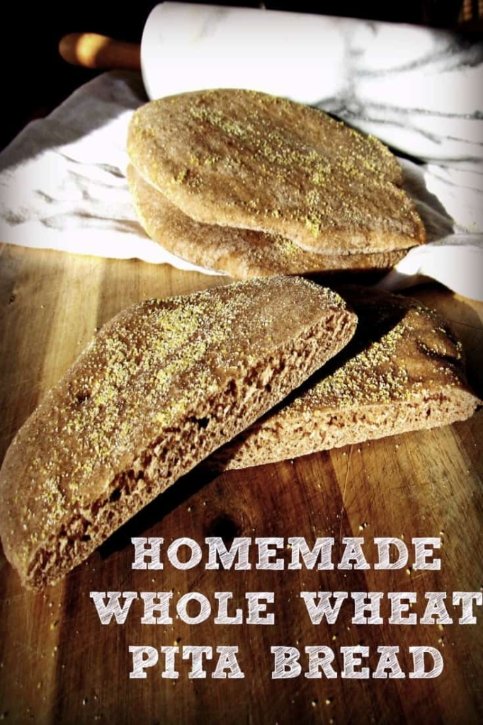 Homemade Whole Wheat Pita Bread - Just FOUR ingredients! #pita #pitabread #baking #breads #homemade