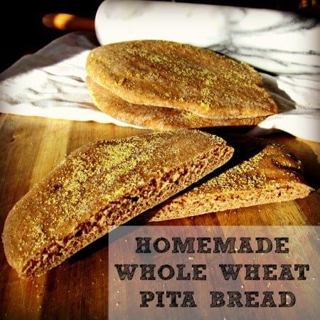 Homemade whole wheat pita bread recipe from HousewifeHowTos.com