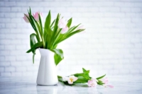 How to Deodorize Your Home Naturally - Tulips in a milk pitcher sitting on a countertop