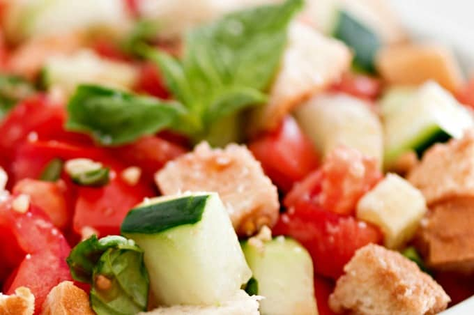 Panzanella Salad Recipe - Crisp vegetables and bread combined with a zesty vinaigrette
