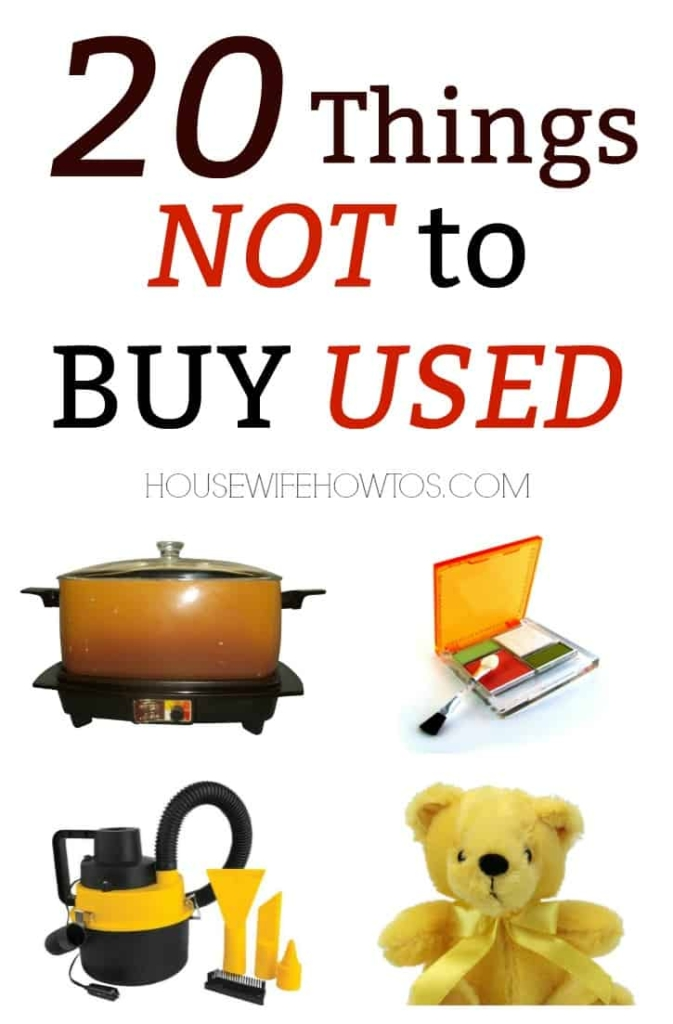20 Things not to buy used - Don't let that great deal put your family in danger. #savingmoney #shopping #frugal #secondhand #garagesales