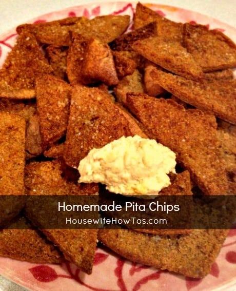 Homemade Pita Chips recipe from HousewifeHowTos.com