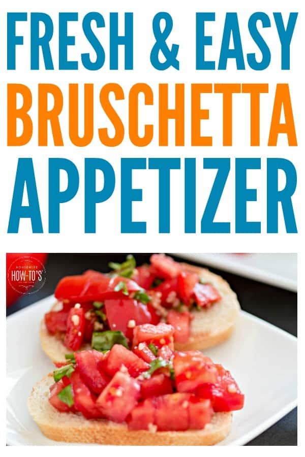 Bruschetta Recipe - This easy appetizer takes just minutes and is loaded with the flavor of fresh tomatoes and herbs. Check out the other ways to use the topping, too, so you can make it once and eat it twice -- or more. #bruschetta #appetizer #fingerfood #partyfood #tomatorecipes