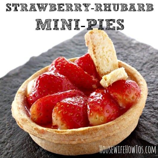 Strawberry Rhubarb Mini Pie recipe from HousewifeHowTos.com