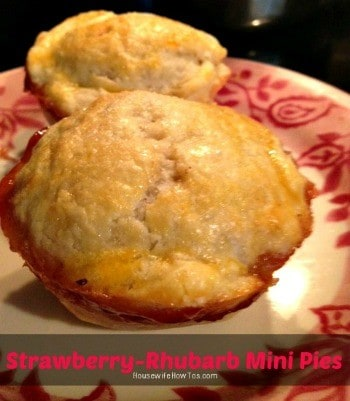 Strawberry-Rhubarb Mini Pie recipes from HousewifeHowTos