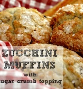 Zucchini muffins with crumb topping recipe from HousewifeHowTos.com