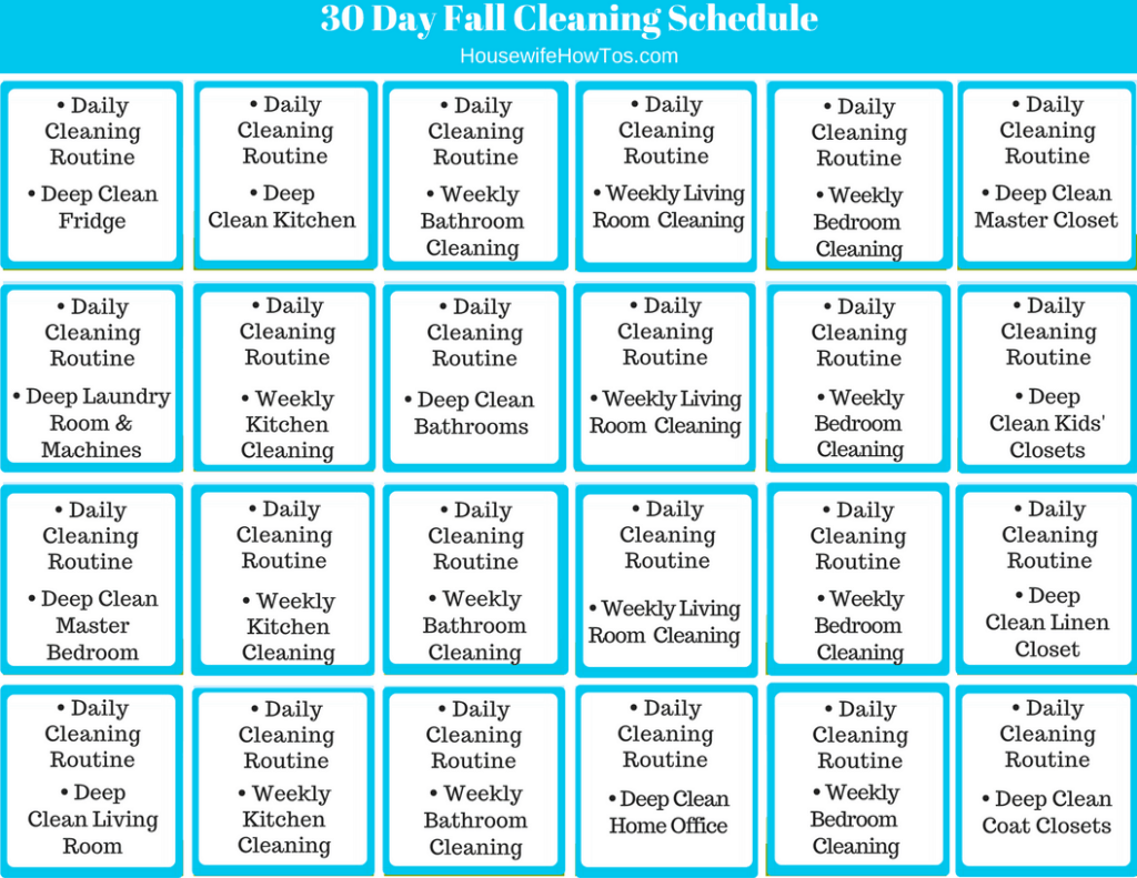 30 Day Fall Cleaning Schedule