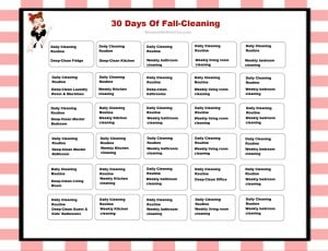 Fall Cleaning Schedule from HousewifeHowTos.com