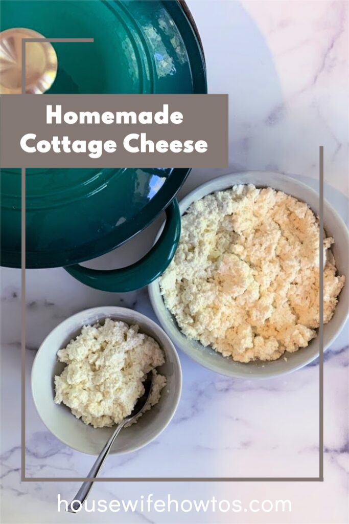 Homemade Cottage Cheese overhead of serving bowl