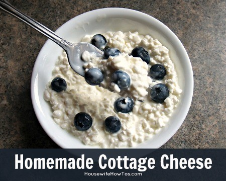 Homemade Cottage Cheese recipe from HousewifeHowTos.com
