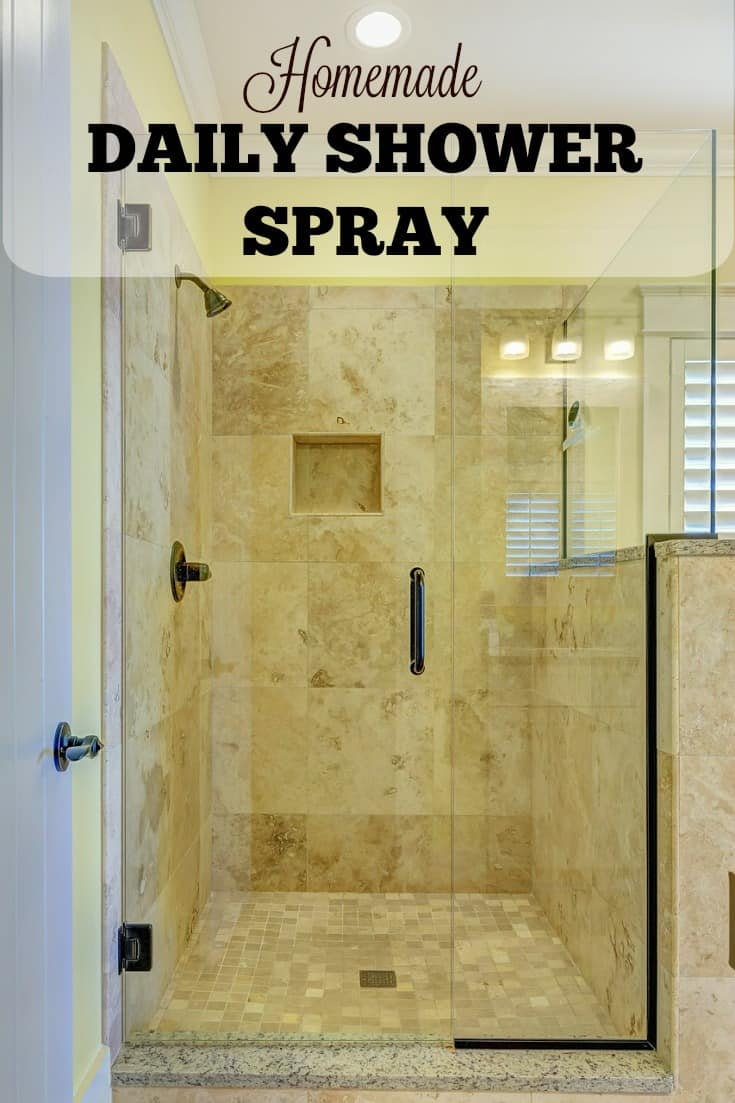 Homemade Daily Shower Spray keeps mold and mildew away and leaves your shower fresh. It even keeps soap scum from forming! #homemadecleaner #cleaningmix #shower #showerspray #bathroom #cleaning #cleaninghack #naturalcleaning
