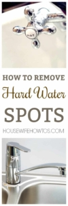How to Remove Hard Water Spots - Get those ugly spots off of your faucets, sink, shower head, and water dispenser #hardwater #hardwaterspots #waterspots #spots #limebuildup #calciumbuildup #faucets #showerdoors #cleaning #cleaningtips #cleaninghacks