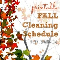 Fall Cleaning Schedule Printable
