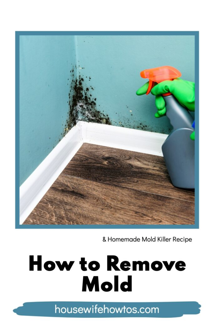 Hand in cleaning glove pointing toward corner of wall with bottle of homemade mold killer