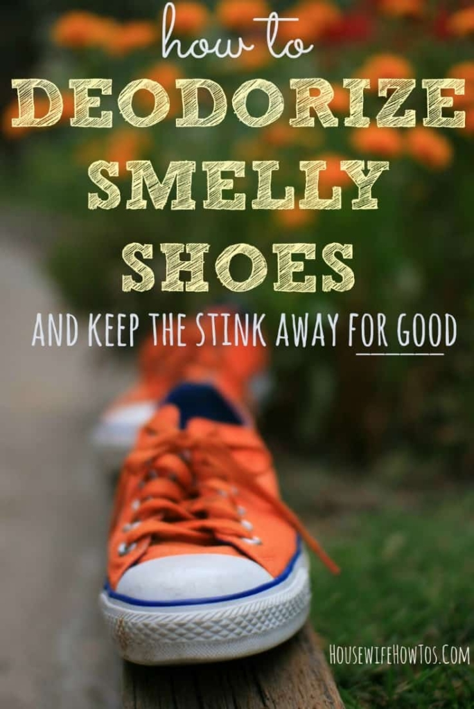 How To Deodorize Smelly Shoes - Works on tennis shoes, boots, even slippers. #smells #odors #shoecare #shoes #stinkyfeet #smellyshoes