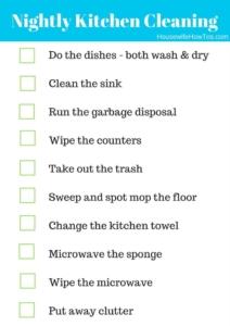 Nightly Kitchen Cleaning Routine Checklist