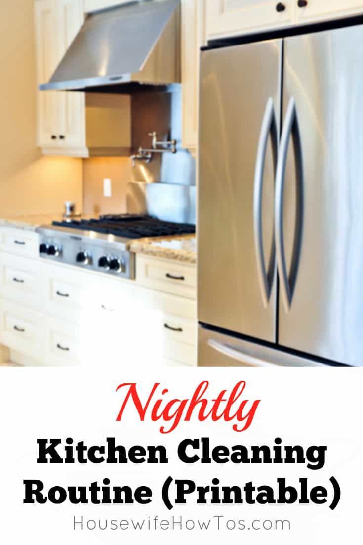 Nightly Kitchen Cleaning Routine (Printable) | Housewife How-To\'s®