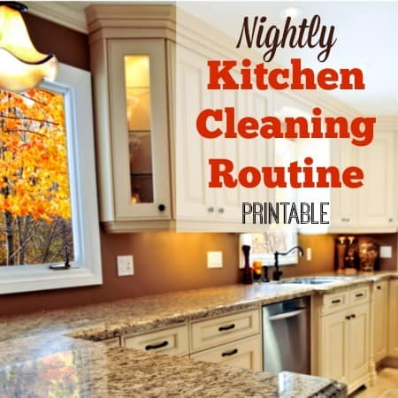Printable nightly kitchen cleaning routine from HousewifeHowTos.com