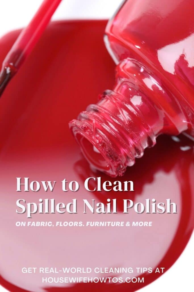 """Red polish spilled on a white floor. The text overlay reads """"how to clean spilled nail polish on fabric, floors, furniture and more"""""""