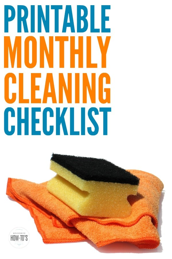 Monthly Cleaning Checklist - Great reminder for weekly cleaning as well as those little household chores that are so easy to forget! #cleaningroutine #cleaningchecklist #cleaningadvice #homemaking #cleaning