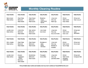 printable monthly cleaning routine housewife how tos