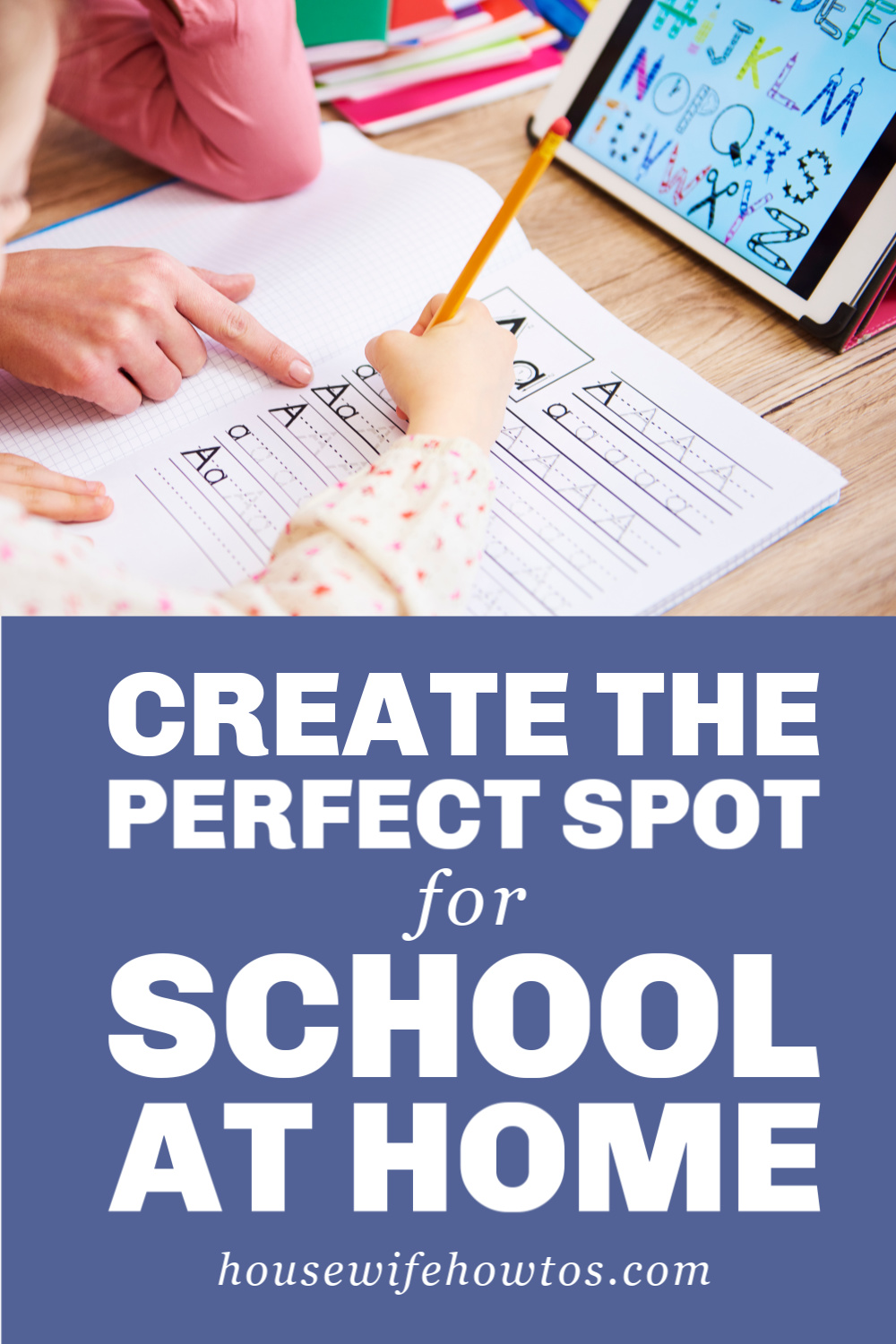 How to Organize a Study Space They'll Actually Use | Don't waste money on special systems or space on dedicated rooms. These tips will create a study environment your kids will do well in while letting you supervise without worry. #studytime #studying #homework #homeworkorganization #schooldays #homeworkhelp #homeorganization #backtoschool #housewifehowtos