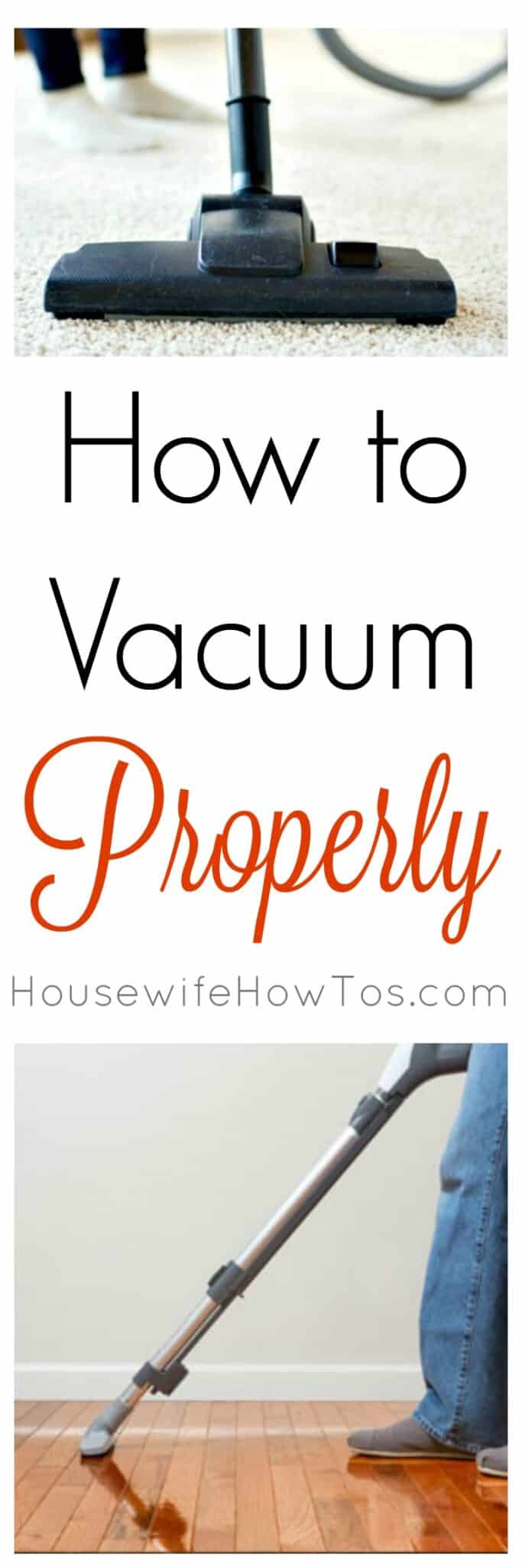 How to Vacuum Properly | Improper vacuuming leaves your home dirtier and ruins your floors. Find out how, and how often, you should do this chore. #vacuum #vacuuming #floorcare #cleaning #cleaningadvice #cleaningtips #howtoclean #indoorair #dust #allergies