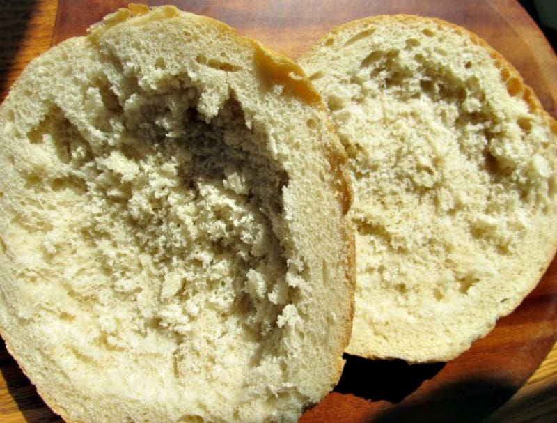 Hollowed out round bread