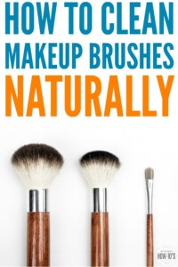 How to Clean Makeup Brushes Naturally - Dirty makeup brushes ruin your look and products. They also can cause acne and carry MRSA! Here's how to clean yours naturally without ruining them. #cleaning #howtoclean #makeup #makeupbrush #brushcleaning #acne #mrsa #naturalcleaning #housewifehowtos #householdtips #beautytips #cleaningtips