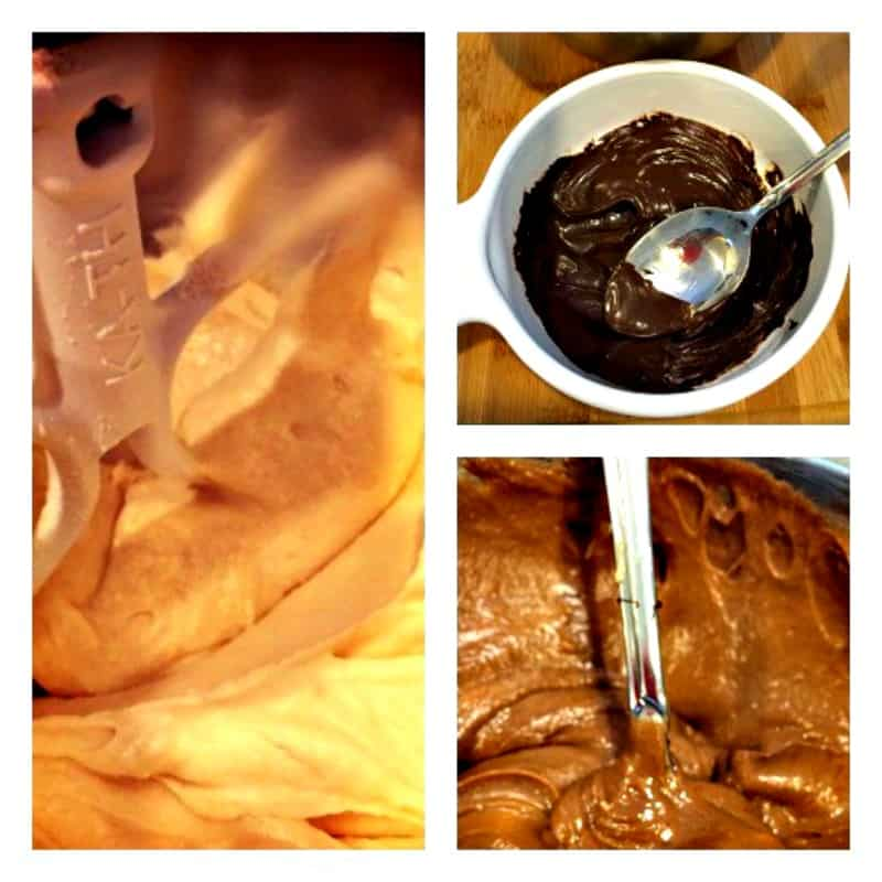 Making Peanut Butter and Chocolate Swirl Cupcakes - Three steps shown involve making the batter and the chocolate frosting plus making ganache