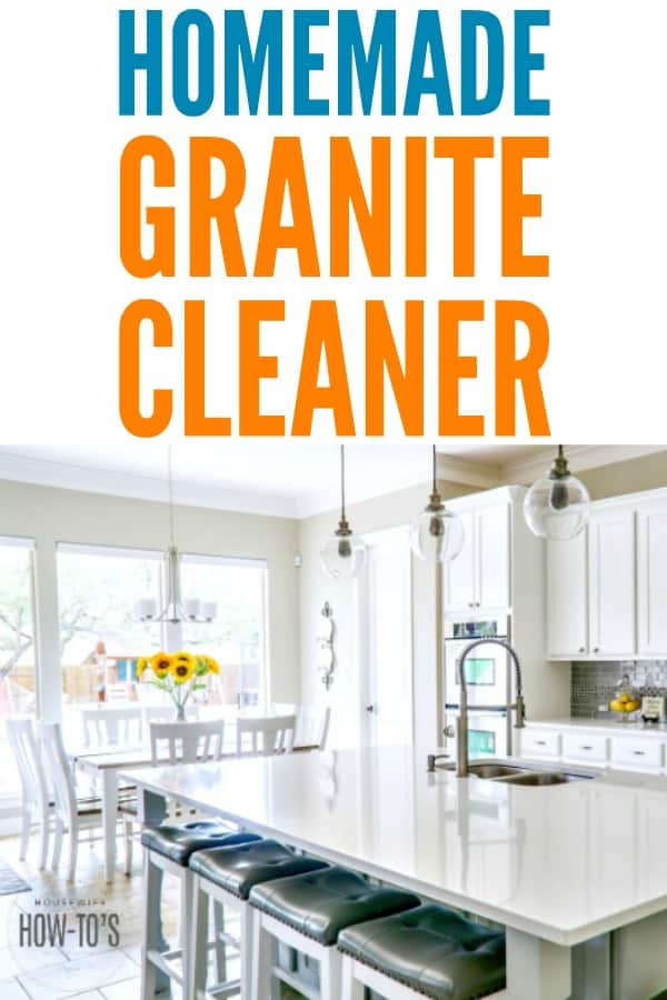 Homemade Granite Cleaner Recipe - This DIY cleaning recipe gets granite clean and shining without damage! #diycleaner #cleaningmix #homemadecleaner #kitchencleaning #housewifehowtos #householdtip