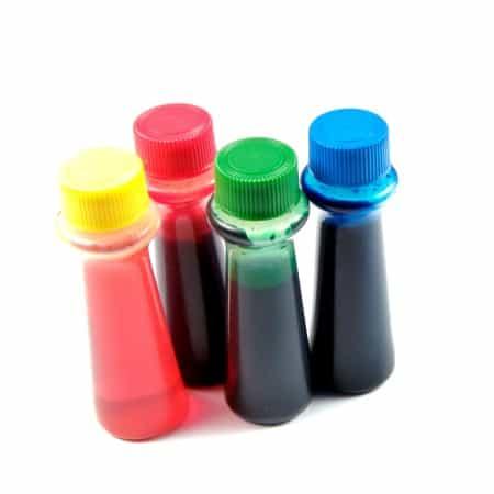 Bottles of food coloring