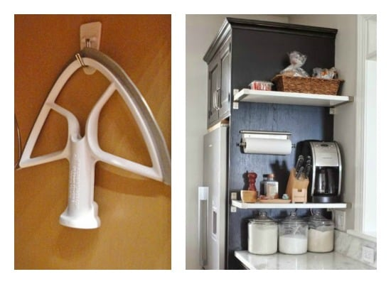 Stand mixer attachment hung on hook inside cabinet and shelves affixed to outside of end cabinet wall
