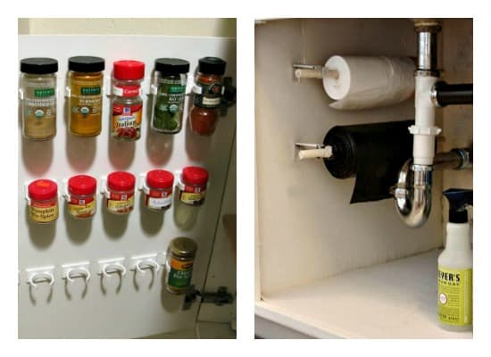 Kitchen Organization Tips showing spice rack in cabinet door and bags under sink