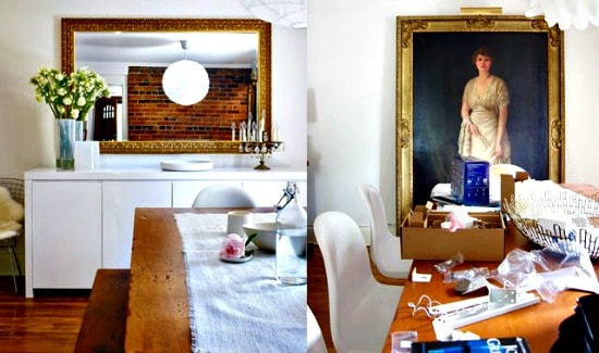Two photos of the same tabletop -- in one, the table is immaculately decorated and in the other it is a mess