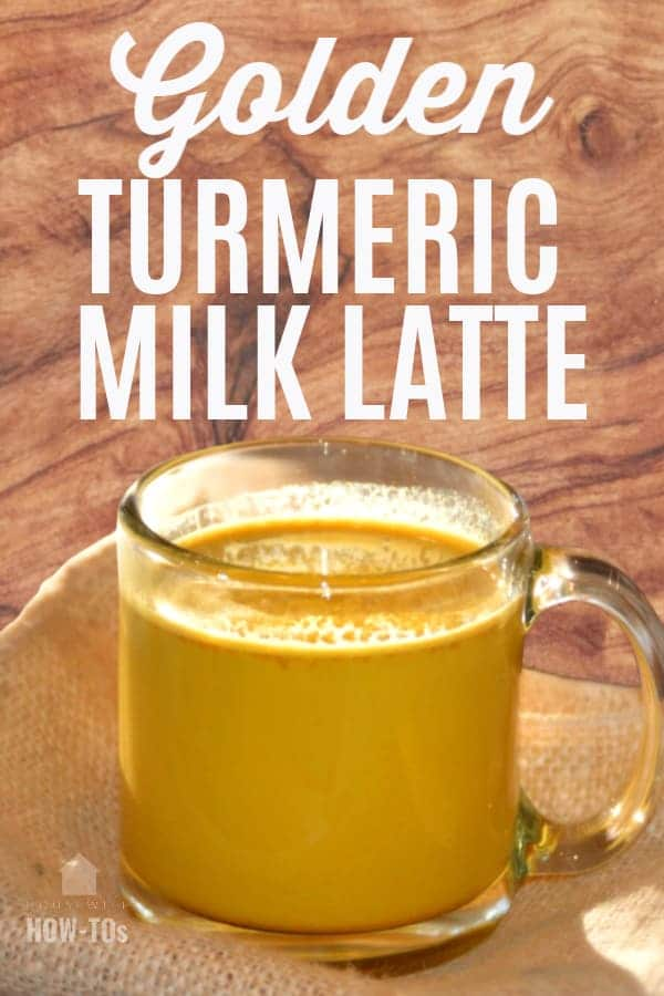 Golden Turmeric Milk Recipe served in a glass mug on top of a burlap cloth