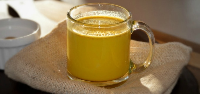 Golden Turmeric Milk Recipe served in a glass mug