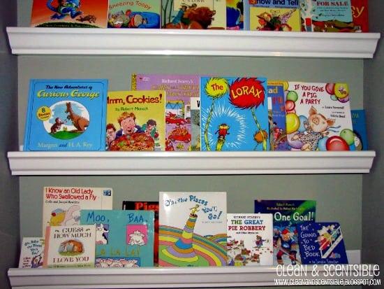Help Kids Organize Their Room with Rain Gutter Bookshelves