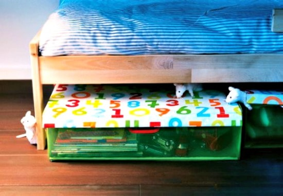 Help Kids Organize Their Rooms with clear under bed storage