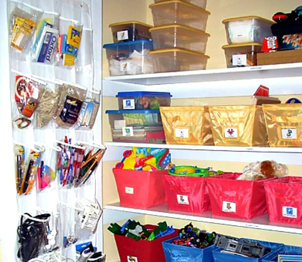 How to organize toys: Use shoe organizers behind closet doors