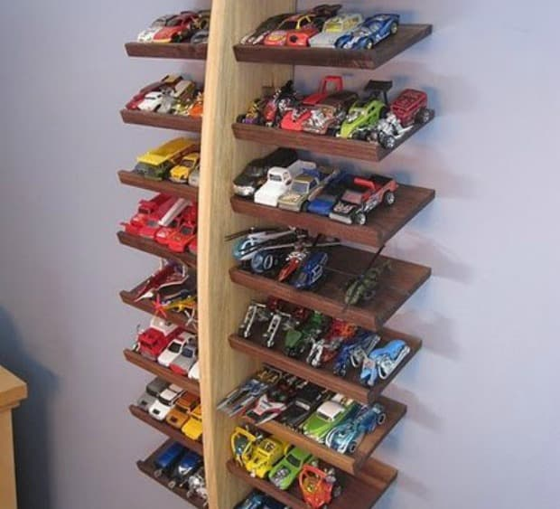 How to organize toys: Build angled shelves for toy cars