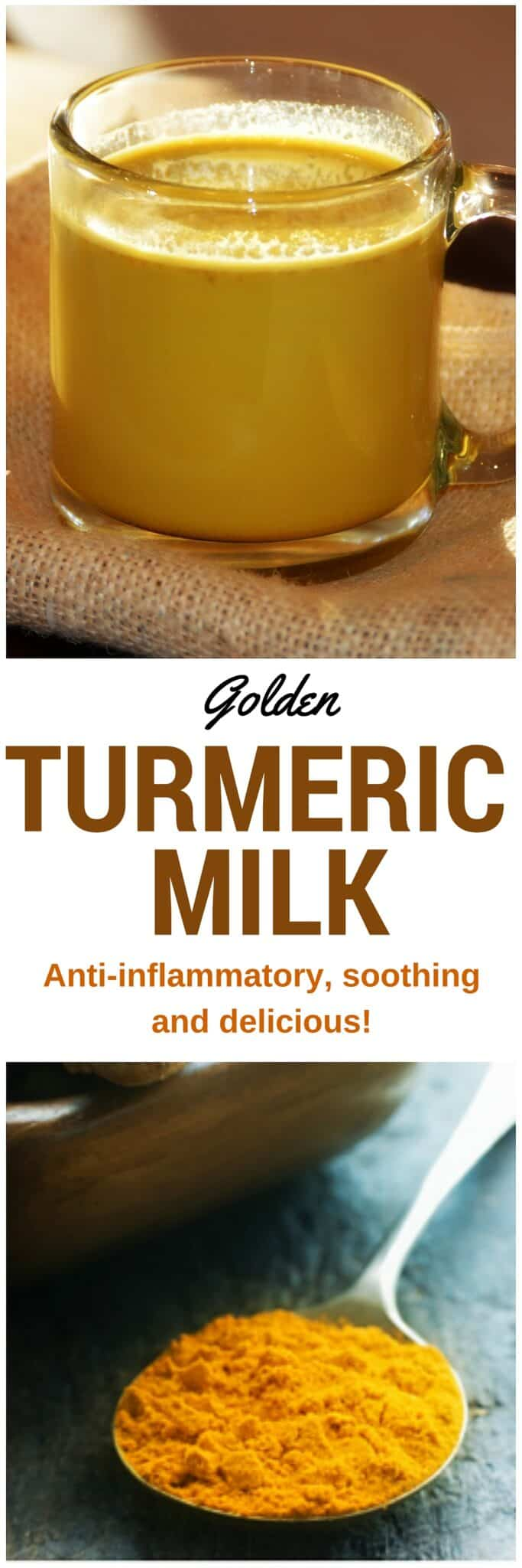 Golden Turmeric Milk - A cup before bedtime contains anti-inflammatory, anti-oxidant, and circulation-boosting properties in a warm, deliciously soothing drink. #antiinflammatory #beverage #goldenmilk #turmeric #jointpain #antioxidant #healthy