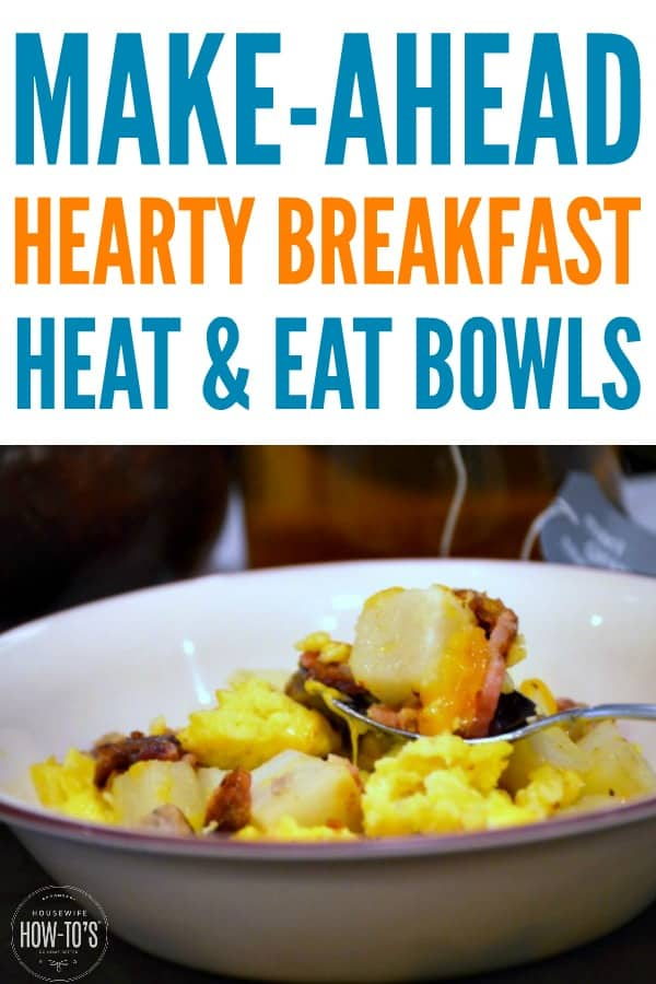 Meal-Prep Hot Breakfast Bowls Recipe - Start the day with a hearty breakfast that's ready in minutes. #mealprep #breakfast #freezerrecipe #hotbreakfast #makeahead #baconandeggs #heatandeat