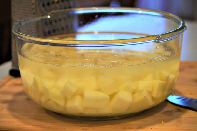 Breakfast Bowl Recipe - Keep potatoes in a bowl of cold water so they do not turn brown