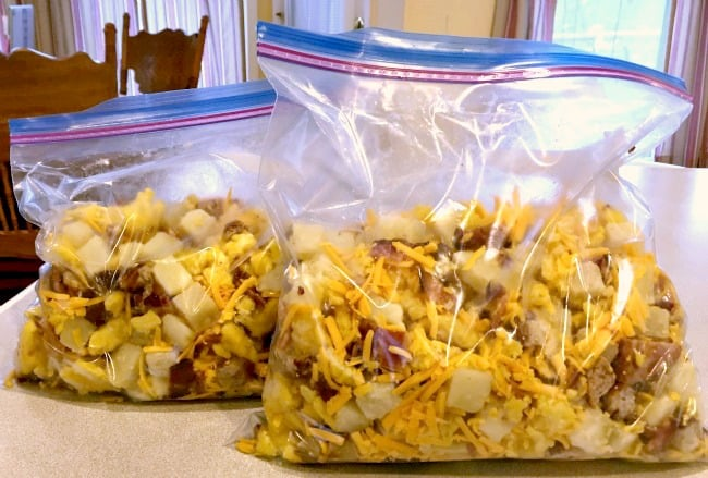 Breakfast Bowl Recipe - Transfer frozen contents to bags and freeze